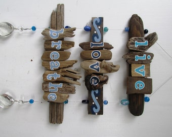Live, Love, Breathe Driftwood Art with colorful beads and crystals, Painting