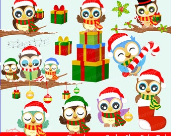 Christmas Owls Clipart Set