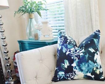 Indigo Pillow - Blue Modern Pillow - Designer Blue Pillow - Digital Print Pillow - Blue and White Pillow Cover - Blue Home Decor -Silk Blend