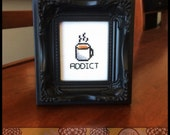 Coffee Addict Printable Cross Stitch Pattern Printable (PDF) - Immediate Download from Etsy - Needle Craft