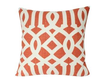Schumacher Mandarin Orange Imperial Trellis Designer Pillow Cover