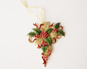 Vintage Christmas Ornament, Large Holly Leaves and Berries Jeweled Christmas Ornament