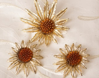 Vintage Sarah Coventry Starburst Flower Brooch & Earring Set