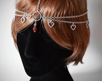 Silver Heart Boho Head Chain
