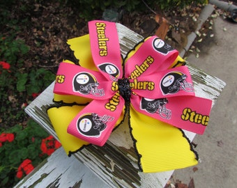 Ready to Ship Pink Steelers Hair Bow