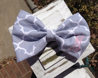 Monogrammed Fabric Hair Bow