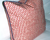 """Hable Construction """"Cherry Picker"""" Pillow Cover with Blue Piping.  Hable canvas fabric on FRONT AND BACK. Red beads on white."""