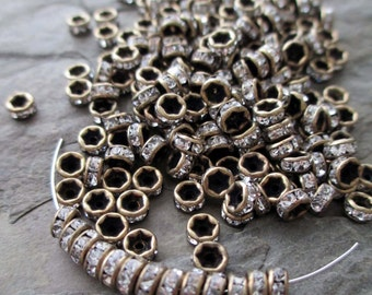 4 mm rhinestone rondelle bead antiqued bronze brass clear spacer straight edge vintage style tiny small, lot of 20 pcs