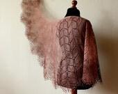 Handknitted Linen lace shawl - rectangular brown shawl