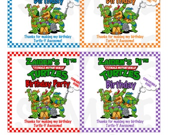 Personalized Red Checker TMNT Ninja Turtles Boys Birthday Party Printable Pizza Box Cover Label