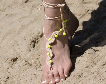 Tan Beach Barefoot Sandles with Neon Yellow Beads Beaded Destination Wedding Bare Foot Sandals Hippie Yoga Nude Shoes Gypsy Toe Thongs