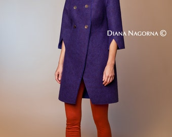 Felted  coat, wool coat, English Violet ,coat handmade merino coat, soft coat, fashion coat , luxury item,spring coat, the coat with buttons