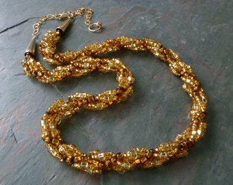 Gold & Topaz Spiral Beaded Rope Necklace w Silver Lined Czech Glass, Handmade, Adjustable Length, 14K GF Clasp