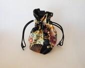 Drawstring Makeup Bag - Fans & Sakura Blossoms - Japanese Fabric - Asian Fabric - Makeup Pouch - Cosmetic Bag - Adorable Little Jewelry Bag