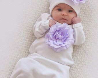 Take-Home-Outfit for Baby Girl - White With Lavender Flowers by Candy Shop Kids