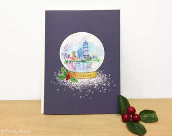 Boston Holiday Card - Snow Globe - Massachusetts