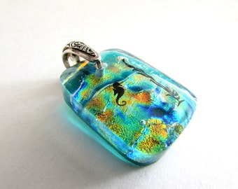 Mermaid Aquarium - Dichroic Glass Necklace Pendant