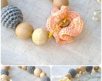 Breastfeeding necklace,Peach flower toy,Teething jewelry,Nursing necklace,Grey baby wrap carrier,Babywearing,Gift for baby,For new mum