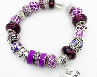 Bridesmaid European Charm Bracelet