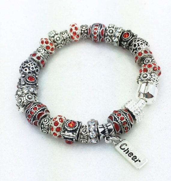 Cheer Charm Bracelets: Red Cheer European Style Charm Bracelet By Graceandliz On Etsy