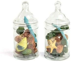 Apothecary Jars, Glass Cylinder Style (Set of 2) - Elegant Decorative Storage, Wedding Accent or Terrarium - Vintage Home Decor