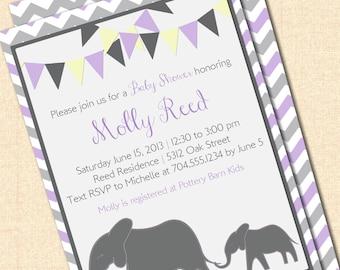 DIY Printable Mama and Baby Elephant Invitation - Girl Purple and Gray - Birthday or Baby Shower Digital Design