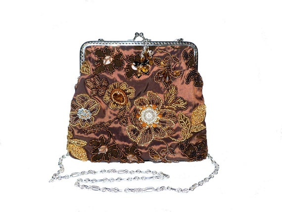 Handmade Bead Embroidered Evening Handbag Purse. Formal Attire Wedding Shoulder Bag Clutch Reticule with Amber