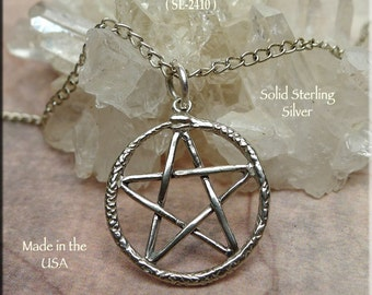 Sterling Silver Ouroboros Pentacle Charm-Pendant, .925 Silver Snake Pentacle Necklace, Pentagram with Serpent Surround, SE-2410