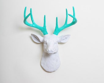 Faux Taxidermy Deer, The MINI Oleg - White W/ Turquoise Antlers Resin Deer Head Wall Mount, Stag Resin by White Faux Taxidermy