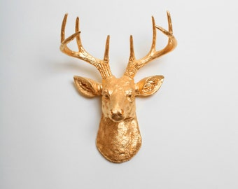 Gold Faux Deer Head Mount - The MINI Franklin - Gold Resin Deer Head Decor - Stag Resin Wall Mount in Gold by White Faux Taxidermy Animals