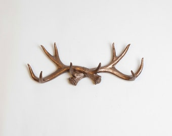 Faux Deer Antler Decor Wall Hook in Bronze - Rustic Faux Antlers Hook & Jewelry Organizer by White Faux Taxidermy - Resin Antler Wall Holder