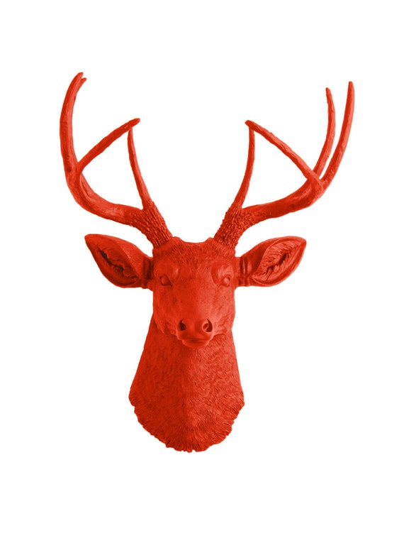 White Faux Taxidermy Deer Head- The Anastasia - Orange Faux Deer Mount - Chic Hanging Animal Wall Art by White Faux Taxidermy Wall Ornaments
