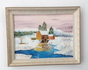 Vintage Oil Painting of a Winter Landscape Old Mill / Original Mid Century Oil Painting / Cottage Decor / Framed Art / Folk Art Painting
