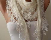 Creamy White Cotton Scarf with Lace Edge - Fashion Accessories - Women Accessories- Trending Item - Gift Ideas - For Her- Women
