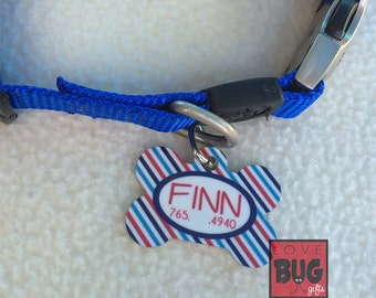Personalized pet tag - Stripes