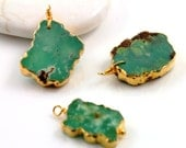 Chrysophase, Freeform Slab Pendant with  One, 24k Gold Electroplated Edge, 15x21-18x26 mm,1 Piece (BZC9035/CHRY)
