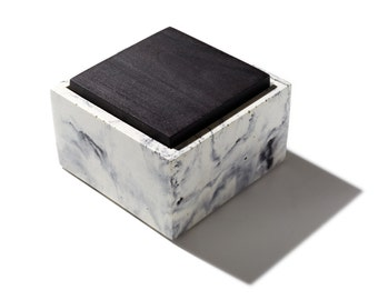 Small Marbled Square Concrete Box With Solid Blackened Or Natural Walnut Lid Minimalist Modern
