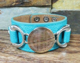 Silver Leather Personalized Bracelet Teal - Initial Bracelet - Monogrammed- Womens Gift