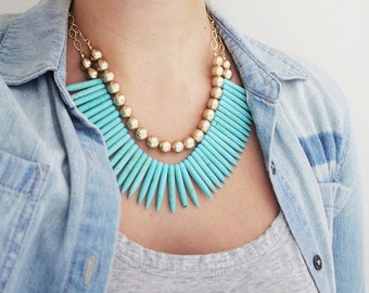 Gold and Turquoise Spike Statement Necklace, Spike Bib Necklace, Turquoise Statement Necklace