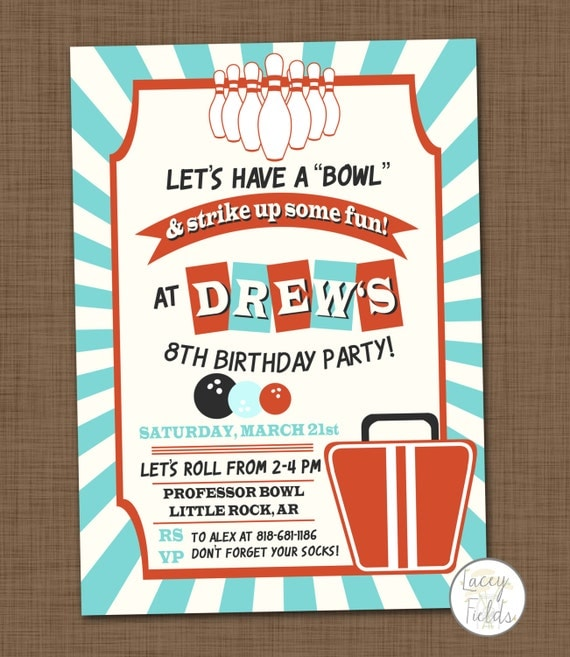 Bowling Birthday Party Invitation Printable Bowling Invitation