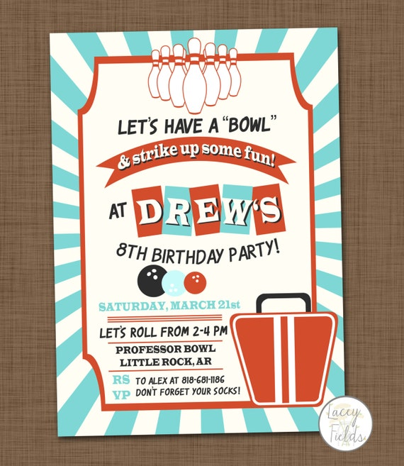 Items similar to Bowling birthday party invitation printable