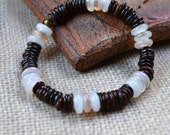 Bohemian Shell Bracelet Neutral Brown Stacking Boho Chic Stretch White Beads India Ethnic Natural Fashion Earthy Jewelry Free Shipping