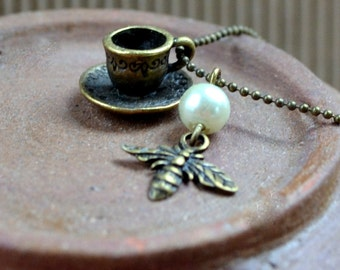 Teacup Necklace Coffee 3D Miniature Tea Cup Antique Bronze Pendant Boho Tiny Bumblebee Bohemian Cottage Chic Fashion Jewelry Free Shipping