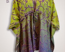 Green to purple ombre fabric beach cover up, cotton kaftan robe plus size clothes, womens plus size clothing, maternity top loose tunic