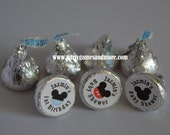 Unique Personalized Mickey Mouse Inspired Birthday or Baby Shower Party Favor Hershey's Kiss Labels