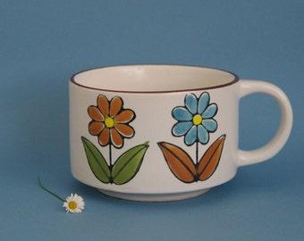 Retro ramekin large tea cup soup bowl Japan flower power