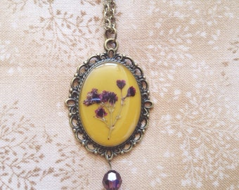 autumn necklace pressed flower resin jewelry - moustard yellow vintage nature inspired bronze necklace with a delicated small pressed flower