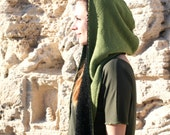 Nomad Hooded Scarf, Warm and Snug Reversible Hoodie, Long Soft Scarf, Big Cozy Hood In Black And Green