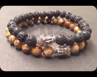 Men's Beaded Buddha Bracelet (Silver)
