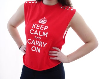 Studded Keep Calm & Carry On tank crop top with silver studs
